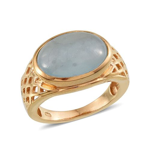 Espirito Santo Aquamarine (Ovl) Ring in 14K Gold Overlay Sterling Silver 6.250 Ct.