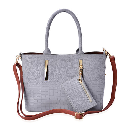 Set of 2 - Rock Pattern Light Grey Colour Large with Hanging Pouch and Chocolate Colour Small Tote Bag (Size 31x23x14 Cm and 29x19x12 Cm)