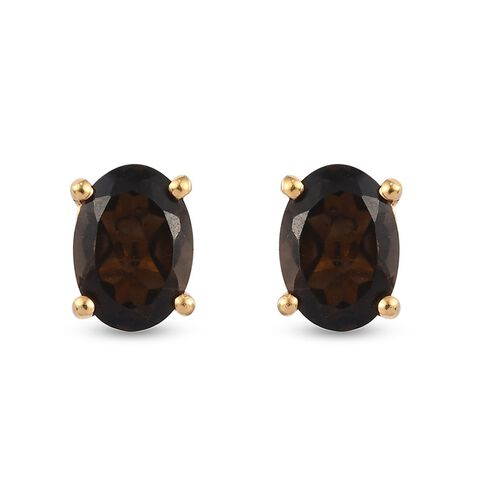 Smoky Quartz Stud Earrings (with Push Back) in 14K Gold Overlay Sterling Silver 1.58 Ct.