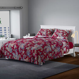 3 Piece Set - Microfiber Paisley Floral Printed Quilt and 2 Pillow Case - Burgundy and Multi