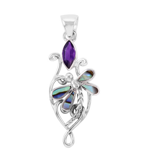 Bali Legacy Collection Amethyst (Mrq), Abalone Shell  Pendant in Sterling Silver 2.050 Ct.