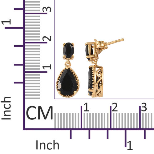 Black Tourmaline (Pear), Boi Ploi Black Spinel Drop Dangle Earrings in 14K Gold Overlay Sterling Silver 4.500 Ct.