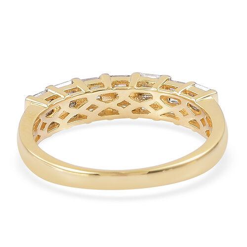 ILIANA 18K Yellow Gold IGI Certified Diamond (Bgt) (SI/G-H) Half Eternity Ring 0.500 Ct.