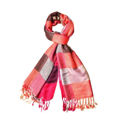 Designer Inspired - Red, Chocolate and Multi Colour Checker Pattern Scarf with Tassels (Size 185X70 Cm)