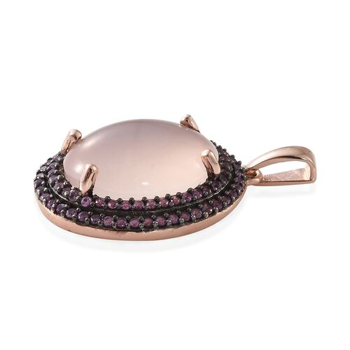 Rare Size Rose Quartz (Ovl 18x13mm)and Pink Sapphire Pendant in Rose Gold Overlay Sterling Silver 13.500 Ct.