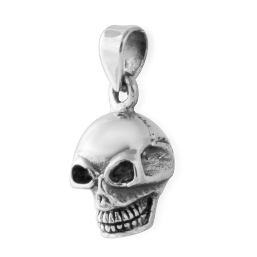Black Oxidised Sterling Silver Skull Pendant, Silver wt 3.23 Gms.