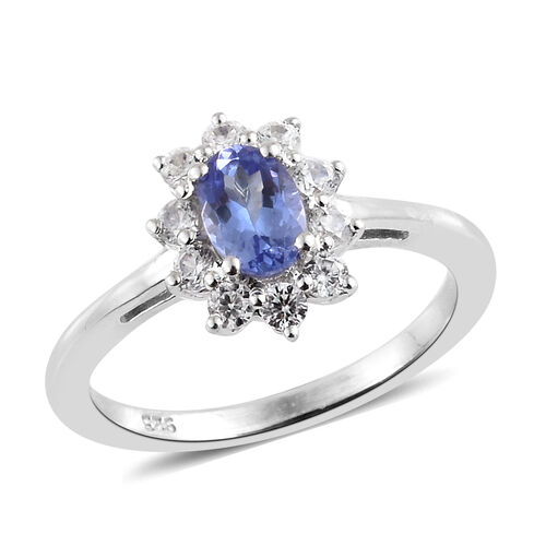 1 Carat Tanzanite and Cambodian Zircon Halo Ring in Platinum Plated Silver