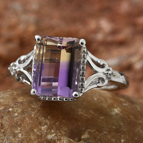 Anahi Ametrine (Oct), Natural White Cambodian Zircon Ring in Platinum Overlay Sterling Silver 2.250 Ct