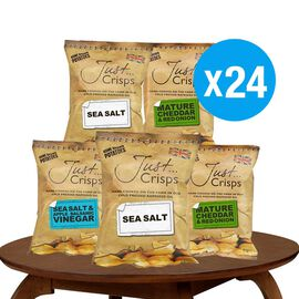 Just Crisps 24 x 40g Classic pack 8 Sea Salt, 8 Cheese & Onion, 8 Salt & Vinegar