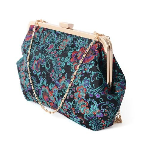 New Season - Black, Turquoise and Multi Colour Embroidery Flower Pattern Clutch Bag with Chain Shoulder Strap (Size 29x17.5 Cm)
