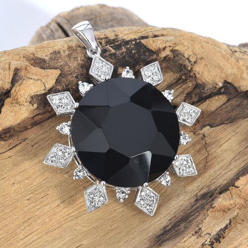 One Time Deal- J Francis - Crystal from Swarovski - Jet Crystal (Rnd), White Colour Crystal Sunburst Pendant in Platinum Overlay Sterling Silver, Silver wt 14.56 Gms.