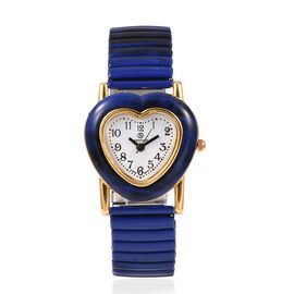 STRADA Japanese Movement Water Resistant Heart Bracelet Watch (Size 6.25 - 6.75 Inch) Colour Dark Blue and Black