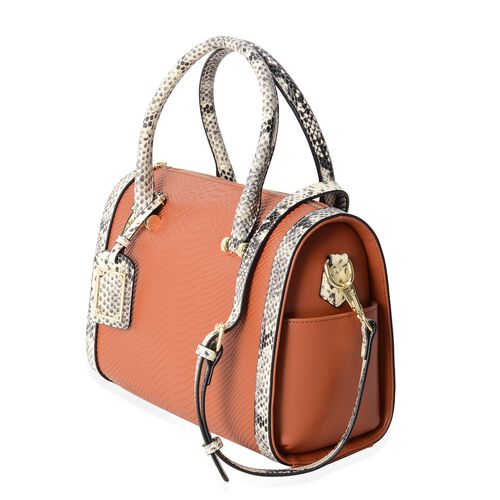 Close Out Deal 100% Genuine Leather Tan Colour Snake Skin Pattern Tote Bag with Removable and Adjustable Shoulder Strap (Size 30x25x12.5 Cm)