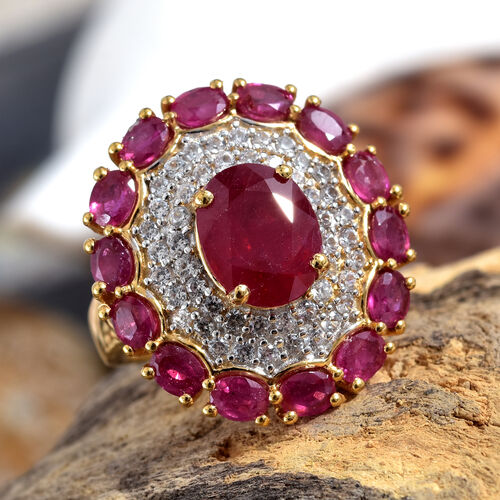 GP African Ruby (Ovl 6.78 Ct),Natural White Cambodian Zircon and Kanchanaburi Blue Sapphire Ring in 14K Gold Overlay Sterling Silver 8.000 Ct, Silver wt 5.80 Gms.