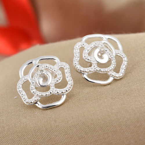 Diamond Rose Floral Stud Earrings (with Push Back) in Sterling Silver