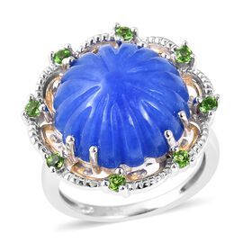 14.83 Ct Blue Jade and Russian Diopside Floral Ring in Two Tone Sterling Silver 5.16 Grams