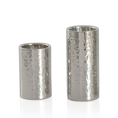 Home Decor - Set of 2 - Round Shape Silver Colour Hammered Tea Light Holder