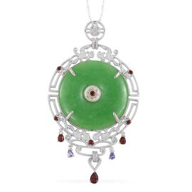 Green Jade, Mozambique Garnet, Tanzanite and Multi Gemstone Pendant with Chain in Rhodium Plated Sterling Silver 56.695 Ct. Silver wt 14.67 Gms.