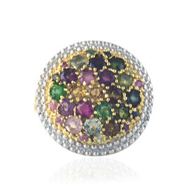 One Time Tucson Close Out- Rainbow Tourmaline (Rnd) Ring in Yellow Gold Vermeil Sterling Silver 3.000 Ct. Silver wt 5.00 Gms.