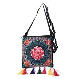 Embroidered Flower Pattern Tote Bag with Colorful Tassels and Shoulder Strap (Size 23x22+9 Cm) - Mul