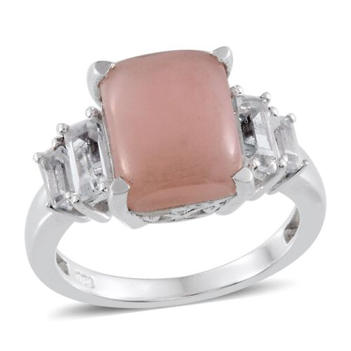 Peruvian Pink Opal (Oct 3.75 Ct), White Topaz Ring in Platinum Overlay Sterling Silver 5.150 Ct.
