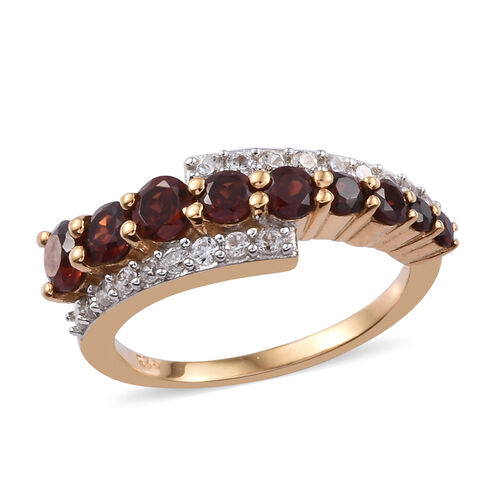 Mozambique Garnet (1.28 Ct),Cambodian Zircon 14K Gold Overlay Sterling Silver Ring  1.500  Ct.