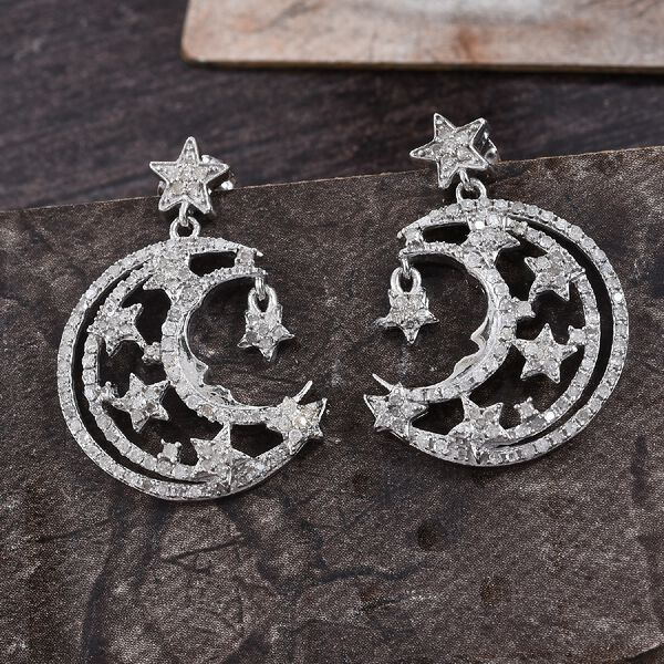 GP Diamond and Blue Sapphire Dangling Crescent Moon and Star Earrings (with Push Back) in Platinum Overlay Sterling Silver 1.02 Ct, Silver wt 5.70 Gms