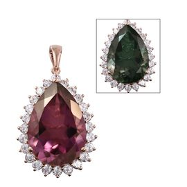 48 Ct Alexandria Quartz and Natural Cambodian Zircon Halo Drop Pendant in Rose Gold Plated Silver