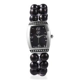 GENOA Japanese Movement Elite Shungite (Rnd), White Austrian Crystal Water Resistant Bracelet Watch
