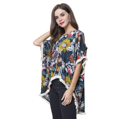 Red, Black and Multi Colour Flower Pattern Apparel with White Colour Tassels (Size 80x70x55 Cm)