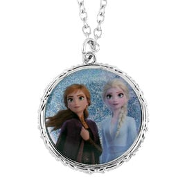 Disney Frozen Elsa and Anna Round Pendant Necklace (Size16 with 2 inch Extender) in Silvertone