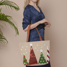 Christmas Tree Pattern Tote Bag with Zipper Closure (Size 32x10.5x35 Cm) - Khaki