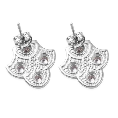 J Francis - Platinum Overlay Sterling Silver Enamelled Stud Earrings (with Push Back) Made with SWAROVSKI ZIRCONIA 1.59 Ct.