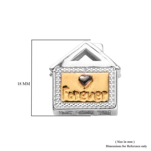 Charmes De Memoire Diamond Family House Charm in Platinum, Black and Yellow Gold Overlay Sterling Silver