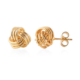 JCK Vegas Collection - Yellow Gold Overlay Sterling Silver Knot Earrings (with Push Back) Silver Wt