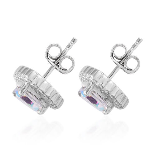Mercury Mystic Topaz Stud Earrings (with Push Back) in Platinum Overlay Sterling Silver 1.75 Ct.