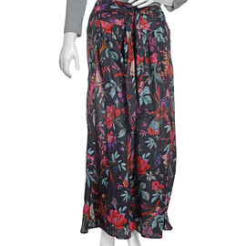 100% Cotton Black, Fuchsia and Multi Colour Flower, Leaves and Birds Pattern Palazzo Trouser (Size 9