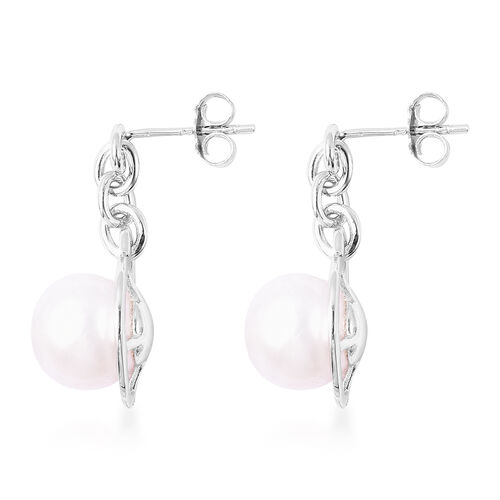 Natural Colour Edison Pearl Dangle Earrings (with Push Back) in Rhodium Overlay Sterling Silver