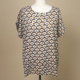 Nova of London Printed Tunic Top with Gold Foil Detail(Size:S/M, 61x68Cm) - Navy and Beige