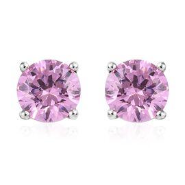 Pink Swarovski (3.00 Ct) Platinum Overlay Sterling Silver Earring  3.000  Ct.