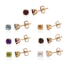 Set of 7 - White Topaz (Rnd), Multi Gemstone Stud Earrings (with Push Back) in 14K Gold Overlay Ster