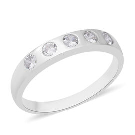 ELANZA Simulated Diamond Band Ring in Rhodium Plated Sterling Silver