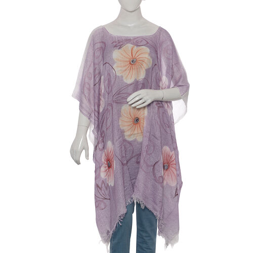 Designer Inspired Hand Painted Light Lilac and orange Colour Beach Tree Pattern Kaftan (Free Size)