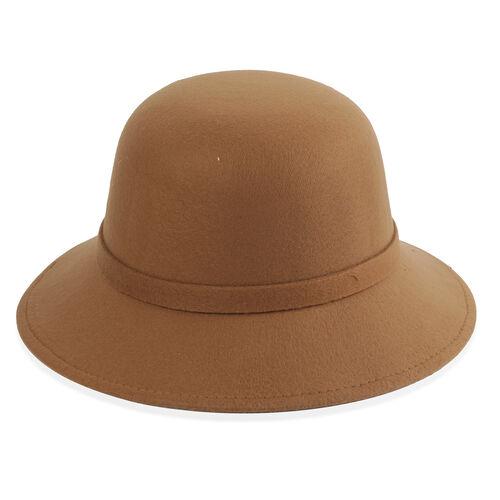 Khaki Colour Flower Adorned Hat (Size 16 Cm)