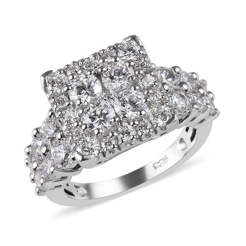 J Francis - Platinum Overlay Sterling Silver Ring made with SWAROVSKI ZIRCONIA 4.42 Ct