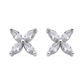 ELANZA Simulated Diamond Earrings (with Push Back) in Rhodium  Overlay Sterling Silver