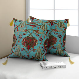 Set of 2 -  Turkish Handmade Cushion Covers with Zipper Closure (Size 45.72x45.72 cm) - Turquoise