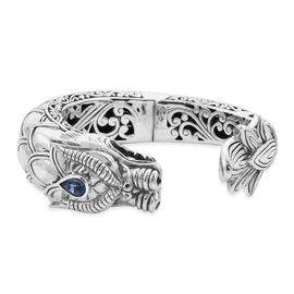 Royal Bali Collection - London Blue Topaz Dragon Head Bangle (Size 7.5) in Sterling Silver Sliver Wt