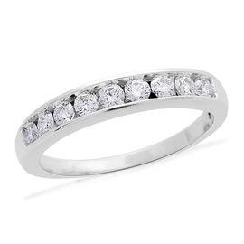 ILIANA 18K White Gold IGI Certified Diamond (Rnd) (SI/G-H) Half Eternity Band Ring 0.750 Ct.