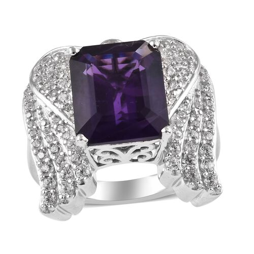 GP 6.50 Ct Amethyst and Multi Gemstone Angel Wing Cluster Ring in Platinum Plated Silver